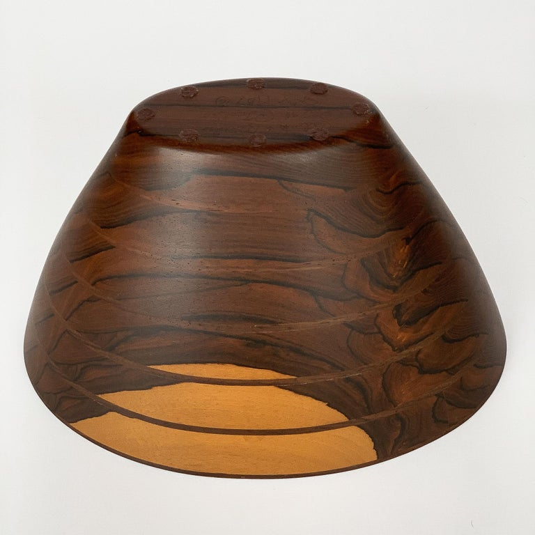 Peter Petrochko Carved Padauk and Ziricote Wood Bowl For Sale 13
