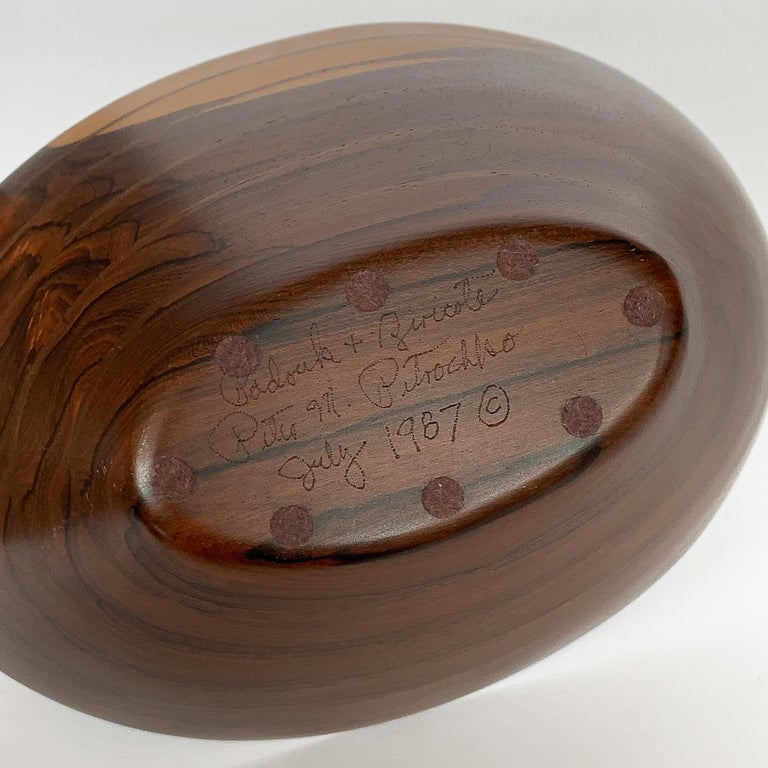 Peter Petrochko Carved Padauk and Ziricote Wood Bowl For Sale 14