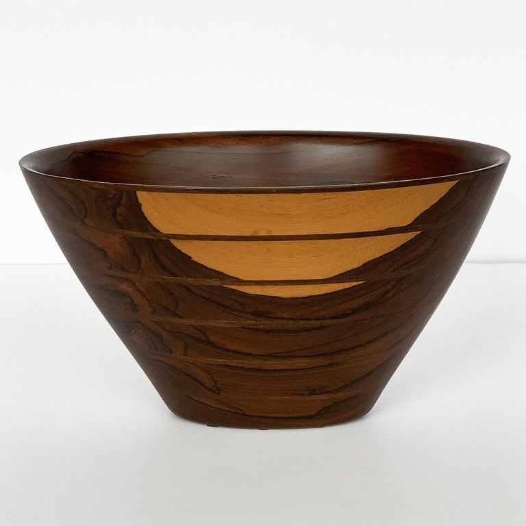 Mid-Century Modern Peter Petrochko Carved Padauk and Ziricote Wood Bowl For Sale