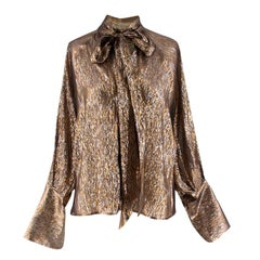 Peter Petrov Brook Metallic Silk-blend Blouse 34 XXS