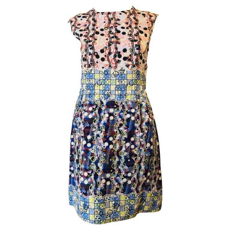 Peter Pilotto Abstract Print Silk Dress 8UK 4US For Sale