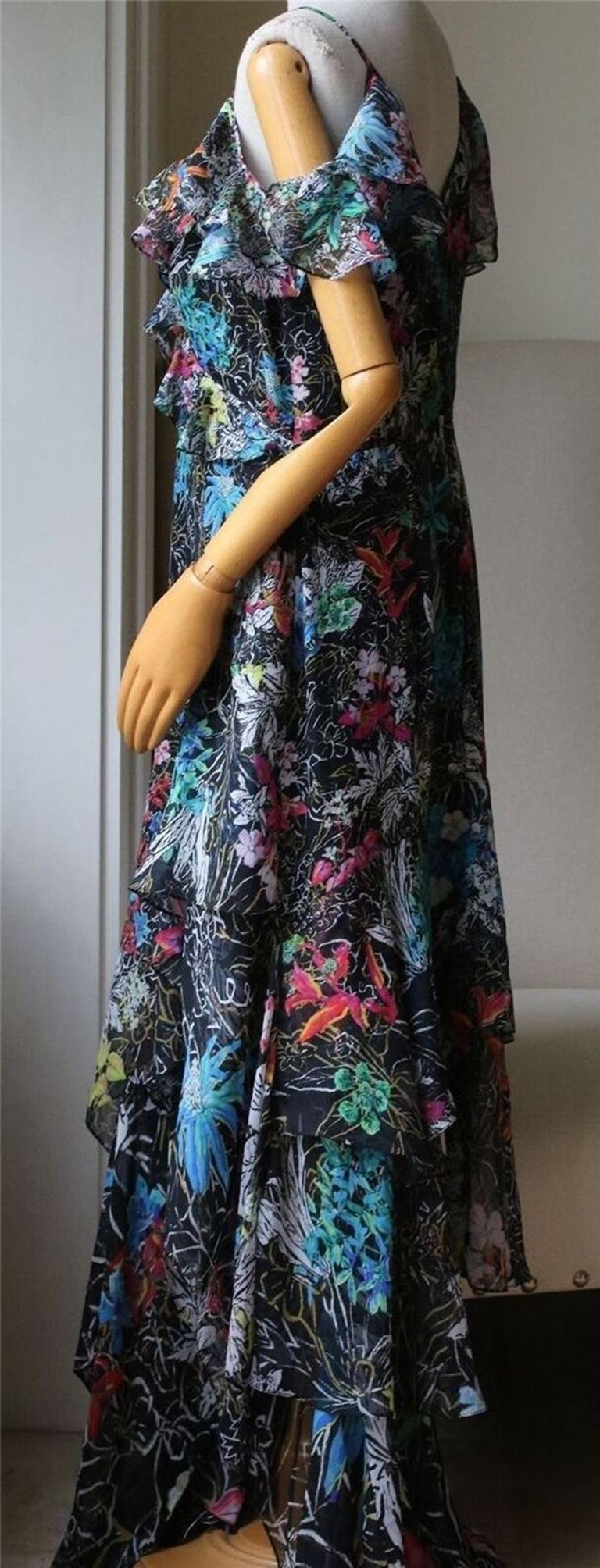 Peter Pilotto Asymmetric Floral-Print Silk-Georgette Gown In Excellent Condition For Sale In London, GB