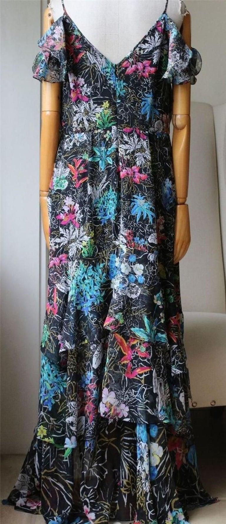 Women's Peter Pilotto Asymmetric Floral-Print Silk-Georgette Gown For Sale