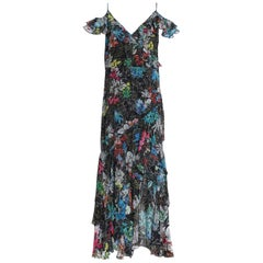 Peter Pilotto Asymmetric Floral-Print Silk-Georgette Gown