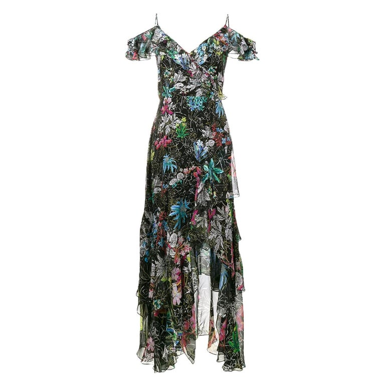Peter Pilotto Asymmetric Floral-Print Silk-Georgette Gown For Sale