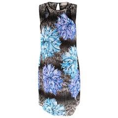Peter Pilotto Black & Blue Floral Print Shift Dress - Size US 8