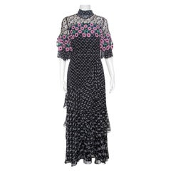 Peter Pilotto Black Floral Print Lace Paneled Ruffled Silk Georgette Dress S