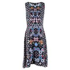 Peter Pilotto Black Floral Print Sleeveless Dress - Size US 10