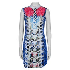Peter Pilotto Blue Digital Print Neon Sequin Embellished Sleeveless Dress S