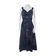Peter Pilotto Blue Printed Denim Button Front Dress M