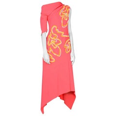 Peter Pilotto Coral Crepe Embroidered Midi Dress - Size US 10