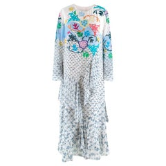 Peter Pilotto Floral Printed Silk Asymmetric Tiered Dress L 14