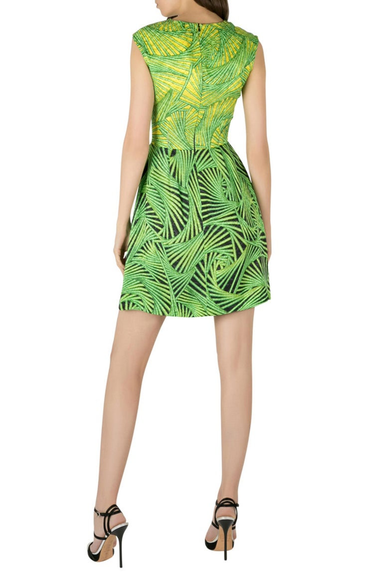 Peter Pilotto Green and Yellow Printed Silk Sleeveless Gia Sheath Dress S In Excellent Condition In Dubai, Al Qouz 2