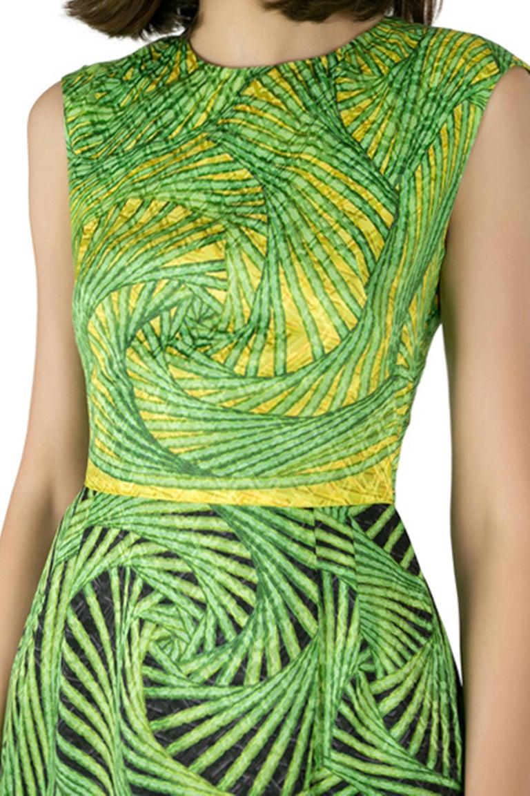 Women's Peter Pilotto Green and Yellow Printed Silk Sleeveless Gia Sheath Dress S