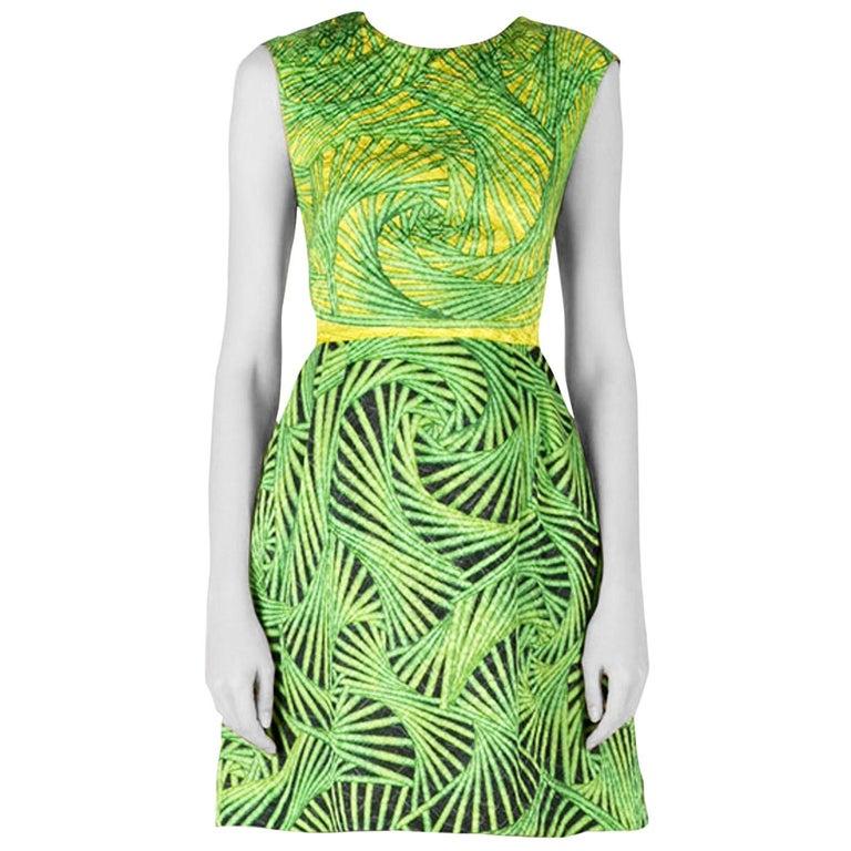 Peter Pilotto Green and Yellow Printed Silk Sleeveless Gia Sheath Dress S
