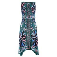Peter Pilotto green printed silk sleeveless dress SIZE 8
