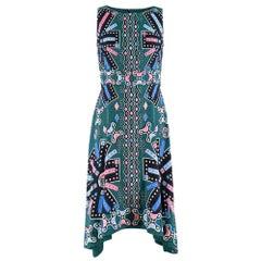 Peter Pilotto green printed silk sleeveless dress - Size US 4