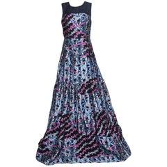 Peter Pilotto Multicolor Embossed Metallic Circuit Wave Jacquard Sleeveless Gown