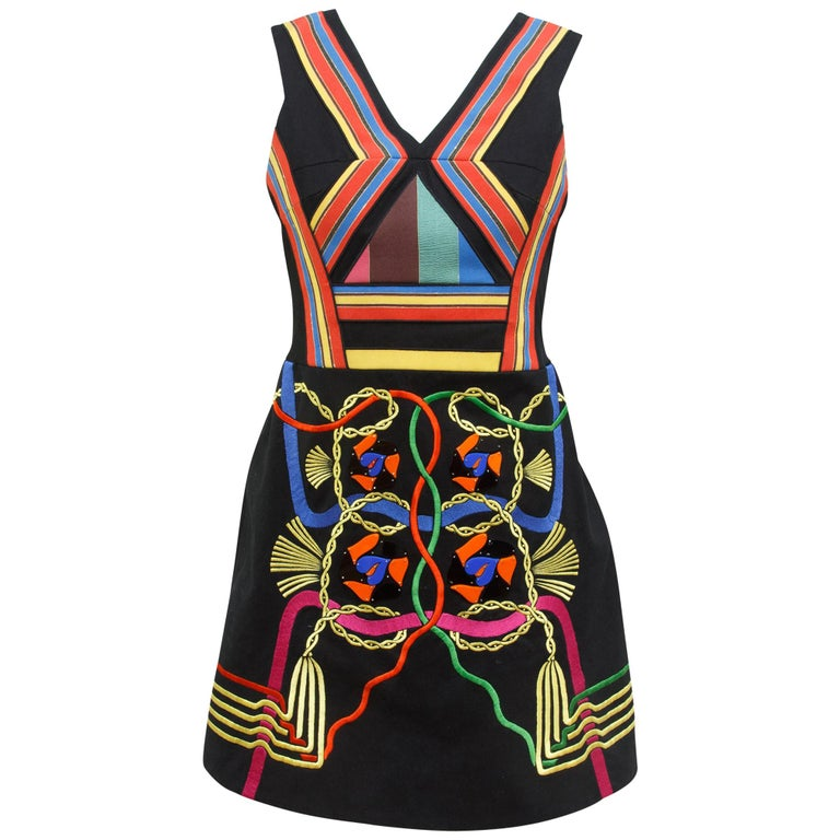 Peter Pilotto Multicolor Embroidered Fit-and-Flare Dress For Sale