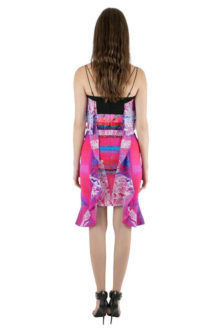Purple Peter Pilotto Multicolor Orchid Print Cutout Embroidered Silk Cascade Dress S For Sale