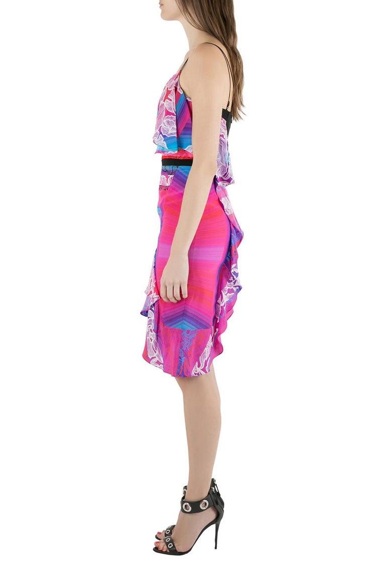 Peter Pilotto Multicolor Orchid Print Cutout Embroidered Silk Cascade Dress S In New Condition For Sale In Dubai, Al Qouz 2