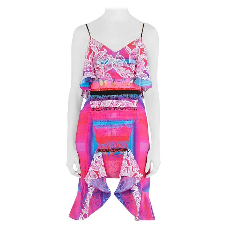 Peter Pilotto Multicolor Orchid Print Cutout Embroidered Silk Cascade Dress S For Sale