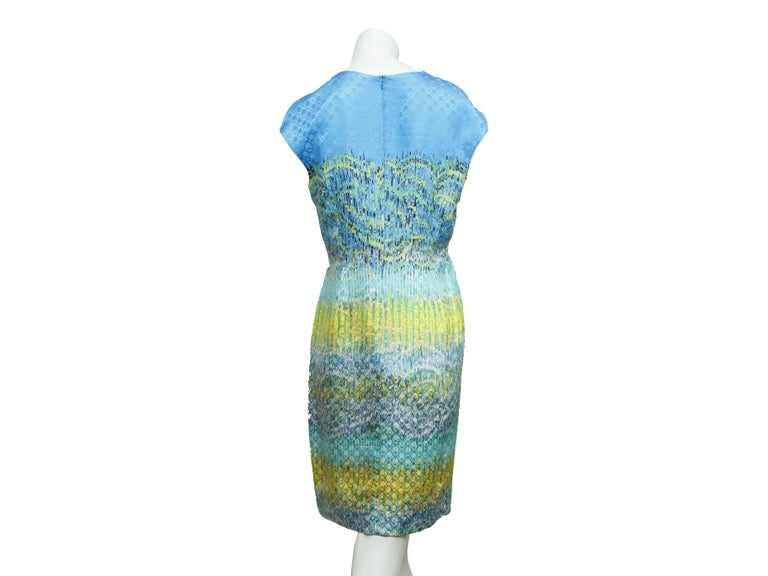 Blue Peter Pilotto Multicolor Printed Silk Sheath Dress For Sale