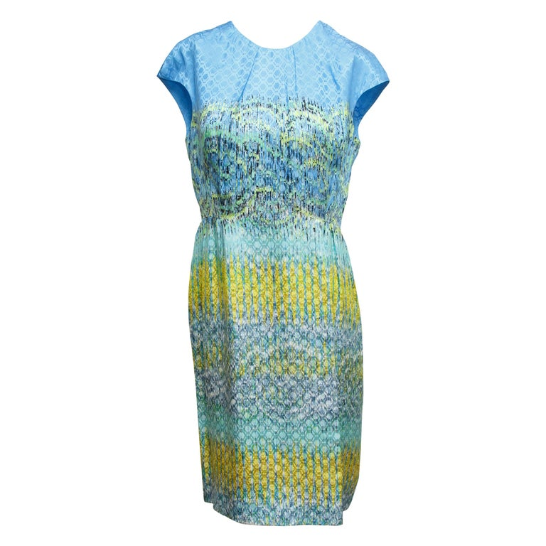 Peter Pilotto Multicolor Printed Silk Sheath Dress For Sale
