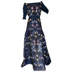 Peter Pilotto Navy Blue Embroidered Lace Evening Gown