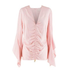 Peter Pilotto Pale Pink Ruched Satin Blouse UK 12