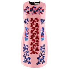 Peter Pilotto Pink Embellished Sleeveless Wool Crepe Shift Dress - Size US 8