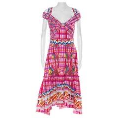 Peter Pilotto Pink Printed Cotton Poplin Cold Shoulder Ruffled Hem Dress S