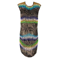 PETER PILOTTO Size 6 Multi-Color Sequined Beaded Silk Shift Dress