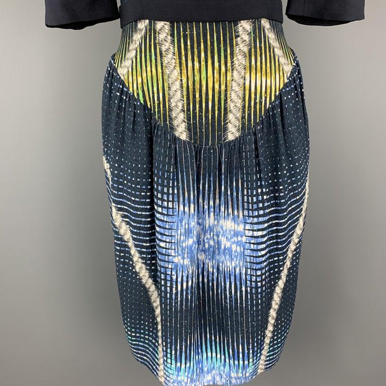 Black PETER PILOTTO Size 6 Navy Print Zip Dress For Sale