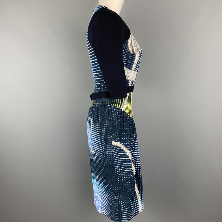 Women's PETER PILOTTO Size 6 Navy Print Zip Dress For Sale