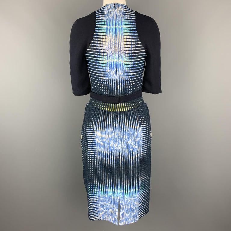 PETER PILOTTO Size 6 Navy Print Zip Dress For Sale 1