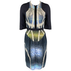 PETER PILOTTO Size 6 Navy Print Zip Dress