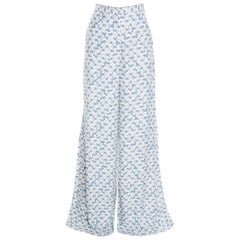 Peter Pilotto White and Blue Floral Printed Wide Leg Pants M