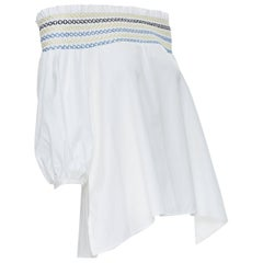 PETER PILOTTO white cotton ethnic embroidery off shoulder puff sleeve top UK6