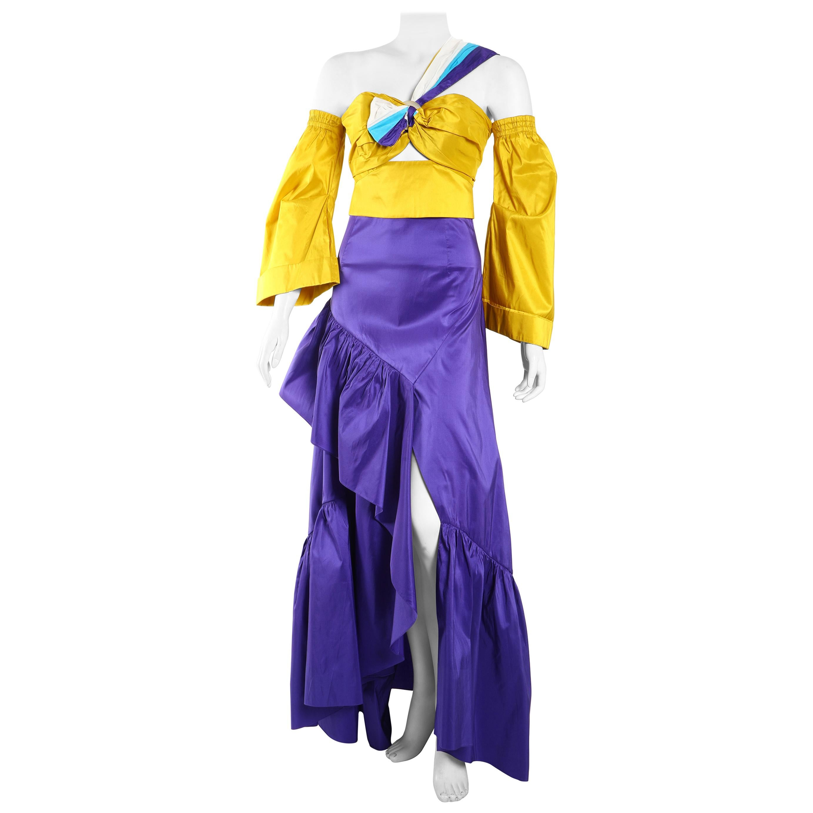 Peter Pilotto Yellow Taffeta Crop Top with Purple Ballroom Skirt
