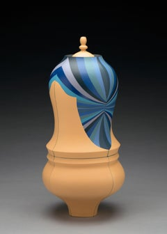 Beige Urn, Contemporary Ceramic Sculpture with Colored Porcelain and Patterning