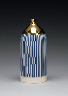 Blue and Gold Bottle, Contemporary Porcelain Sculpture with Gold Luster, Glaze