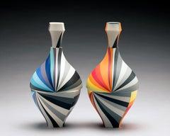 Bottle Pair, Contemporary Design, Set of Colored Porcelain Sculptures
