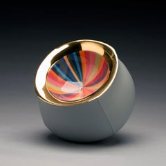 Contemporary Design, Ceramic Bowl with Colorful Pattern and Gold Luster