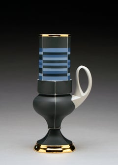 Contemporary Design, Porcelain Cup with Gold Luster Glaze and Geometric Pattern