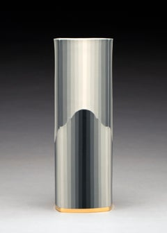 Gradient Column, Contemporary Design, Porcelain Sculpture with Gold Luster Glaze