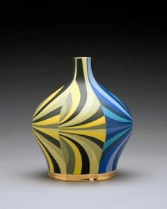 Oblong Bottle, Contemporary Design, Porcelain Sculpture with Colored Slip, Glaze