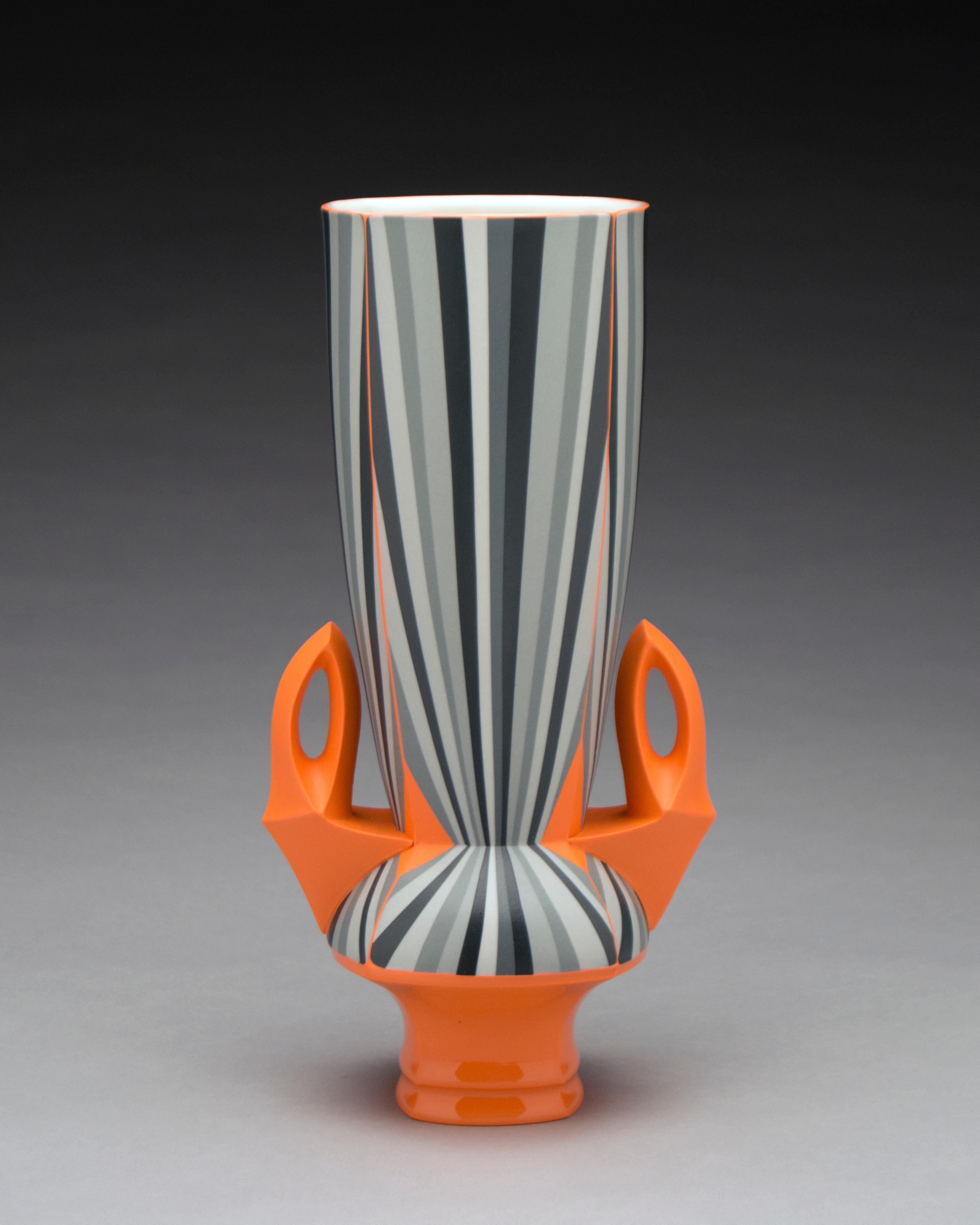 Orange Vase, Contemporary Design Porcelain Sculpture with Geometric Patterning