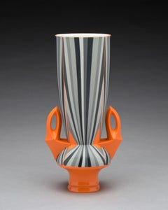 Orange Vase, Contemporary Design Porcelain Sculpture with Geometric Patterning