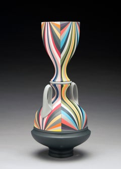Untitled with Grey Handles, Contemporary Porcelain Sculpture with Gold Luster